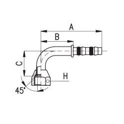 9101020 KOŃCÓWKA FLARA ŻEŃSKA FRIGOCLIC REFRIMASTER / PLUS 90° G10 DN13 1/2''