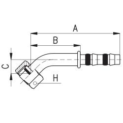 9102025 KOŃCÓWKA O-RING ŻEŃSKA FRIGOCLIC REFRIMASTER / PLUS 45° G8 DN10 13/32''