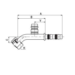 9102033 KOŃCÓWKA O-RING ŻEŃSKA FRIGOCLIC REFRIMASTER / PLUS 45° G8 DN10 13/32'' + PORT SERWISOWY HP