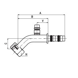9102034 KOŃCÓWKA O-RING ŻEŃSKA FRIGOCLIC REFRIMASTER / PLUS 45° G10 DN13 1/2'' + PORT SERWISOWY LP