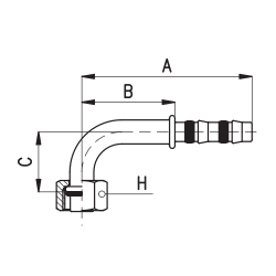 9102036 KOŃCÓWKA O-RING ŻEŃSKA FRIGOCLIC REFRIMASTER / PLUS 90° G6 DN8 5/16''