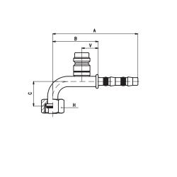 9102050 KOŃCÓWKA O-RING ŻEŃSKA FRIGOCLIC REFRIMASTER / PLUS 90° G8 DN10 13/32'' + PORT SERWISOWY HP