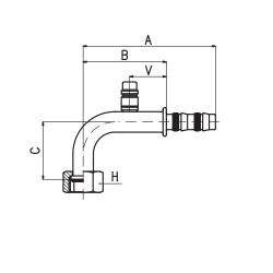 9102052 KOŃCÓWKA O-RING ŻEŃSKA FRIGOCLIC REFRIMASTER / PLUS 90° G10 DN13 1/2'' + PORT SERWISOWY LP