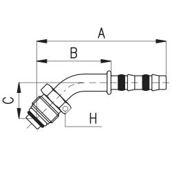 9102071 KOŃCÓWKA O-RING MĘSKA FRIGOCLIC REFRIMASTER / PLUS 45° G8 DN10 13/32'