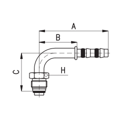 9102077 KOŃCÓWKA O-RING MĘSKA FRIGOCLIC REFRIMASTER / PLUS 90° G8 DN10 13/32''
