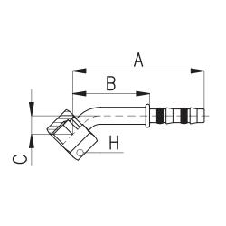 9103010 KOŃCÓWKA O-RING ROTALOCK ŻEŃSKA FRIGOCLIC REFRIMASTER / PLUS 45° G8 - G8 DN10 13/32''