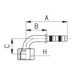 9103022 KOŃCÓWKA O-RING ROTALOCK ŻEŃSKA FRIGOCLIC REFRIMASTER / PLUS 90° G16 - G16 DN22 7/8''